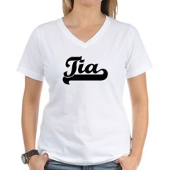 Black jersey: Tia Women's V-Neck T-Shirt