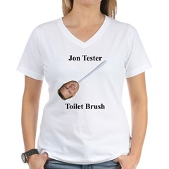 Jon Tester Toilet Brush Women's V-Neck T-Shirt