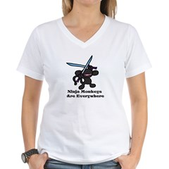 Black Ninja Monkey Overhead w Women's V-Neck T-Shirt