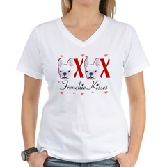Frenchie Kisses OXOX Women's V-Neck T-Shirt
