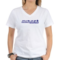 myrtlebeachblu2.jpg Women's V-Neck T-Shirt