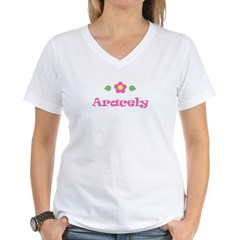 "Pink Daisy - ""Aracely"" Women's V-Neck T-Shirt"