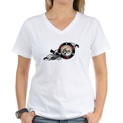 Poker Ace merged 02 PRINT copy.psd Women's V-Neck T-Shirt