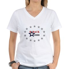 ::: Barack Obama - Oval Stars ::: Women's V-Neck T-Shirt
