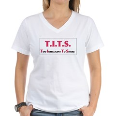 tits.jpg Women's V-Neck T-Shirt