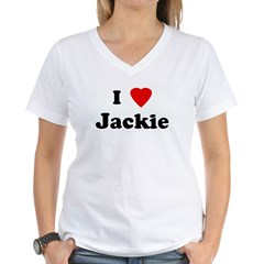 I Love Jackie Women's V-Neck T-Shirt