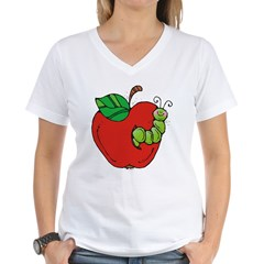 Wormy Apple Women's V-Neck T-Shirt