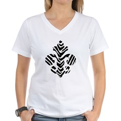 Fleur de lis Animals 1 Women's V-Neck T-Shirt