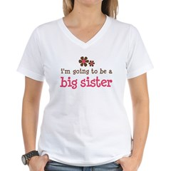 big sister pink brown flower Women's V-Neck T-Shirt