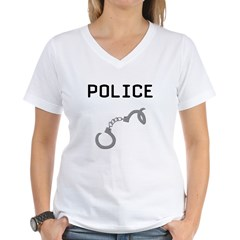 Police Handcuffs Women's V-Neck T-Shirt