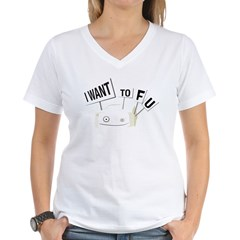 I want tofu! Women's V-Neck T-Shirt