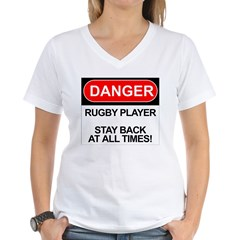 """Danger Rugby Player"" Women's V-Neck T-Shirt"