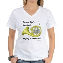 Horn-Life's Too Shor Women's V-Neck T-Shirt