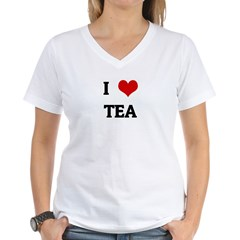 I Love TEA Women's V-Neck T-Shirt