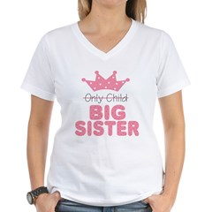 Only Child Big Sister Women's V-Neck T-Shirt