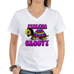 Women's Groovy Turtle Women's V-Neck T-Shirt