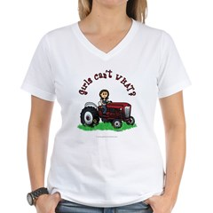 Light Red Farmer Women's V-Neck T-Shirt