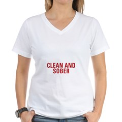 1 Year Clean & Sober Women's V-Neck T-Shirt