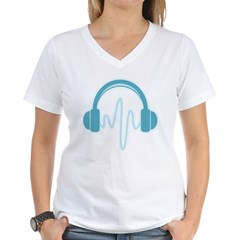 Blue Headphones Maternity Tee (Dark) Women's V-Neck T-Shirt