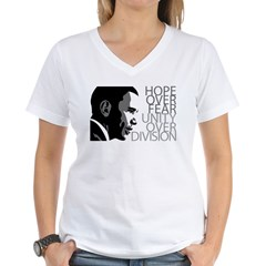Obama - Hope Over Division - Grey Women's V-Neck T-Shirt