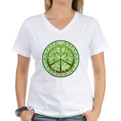 Peaceful Tree Hugger Women's V-Neck T-Shirt
