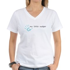My Little Nudger (boy) Women's V-Neck T-Shirt