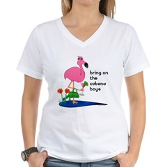 Flamingo on vacation with martini on Women's V-Neck T-Shirt