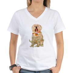 happy wheaten terrier Women's V-Neck T-Shirt