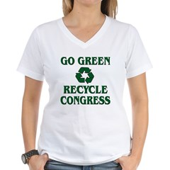 Go Green - Recycle Congress Women's V-Neck T-Shirt