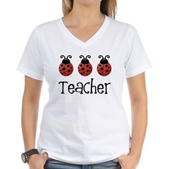 Ladybug Teacher Women's V-Neck T-Shirt