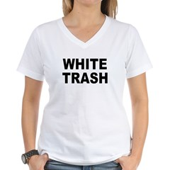 WhiteTrash.jpg Women's V-Neck T-Shirt