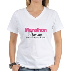 Marathon Mommy Peace Quie Women's V-Neck T-Shirt