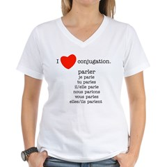 I love conjugation Women's V-Neck T-Shirt