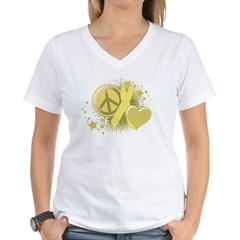 Spina Bifida Peace Love Cure Women's V-Neck T-Shirt