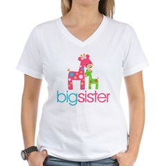 funky giraffe sister no name Women's V-Neck T-Shirt