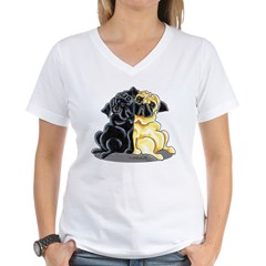 Black Fawn Pug Women's V-Neck T-Shirt
