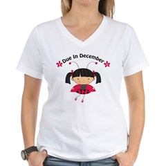 Cute December Pregnancy T-Shirt Women's V-Neck T-Shirt