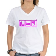 EAT-SLEEP-TKD Women's V-Neck T-Shirt