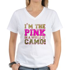 pink Women's V-Neck T-Shirt