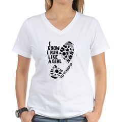I Know I Run Like A Girl Women's V-Neck T-Shirt