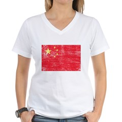 China Flag Women's V-Neck T-Shirt