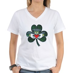 Shamrock Claddagh Women's Women's V-Neck T-Shirt