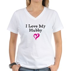 I Love My Hubby Women's V-Neck T-Shirt