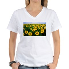 Sunflowers in field Women's V-Neck T-Shirt