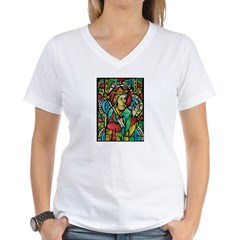Stained Glass Queen Light Women's V-Neck T-Shirt
