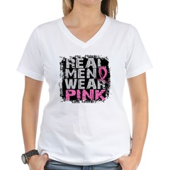 Real Men Wear Pink 1 Women's V-Neck T-Shirt