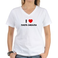 I LOVE NORTH CAROLINA Women's V-Neck T-Shirt