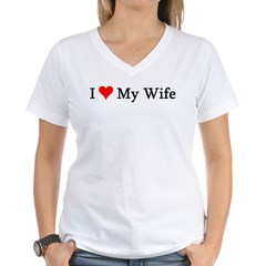 I Love My Wife Women's V-Neck T-Shirt