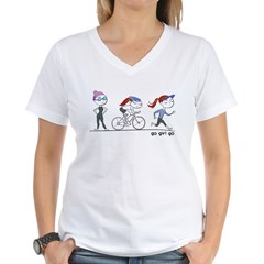 Triathlete Girl Women's V-Neck T-Shirt