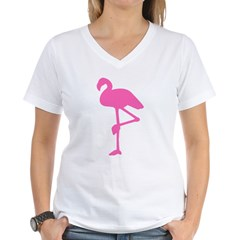 Hot Pink Flamingo Women's V-Neck T-Shirt